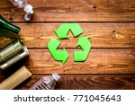 waste recycling symbol with... | Shutterstock . vector #771045643