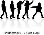 vector silhouette of children... | Shutterstock .eps vector #771051688