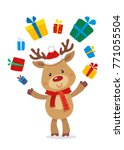 santas reindeer and gifts.... | Shutterstock .eps vector #771055504