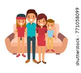happy family sitting together... | Shutterstock .eps vector #771058099