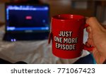 watching series with a cup of... | Shutterstock . vector #771067423