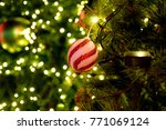 red ball adorn christmas tree... | Shutterstock . vector #771069124