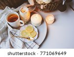 cozy winter morning at home.... | Shutterstock . vector #771069649