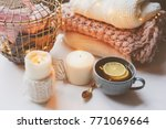 cozy winter morning at home.... | Shutterstock . vector #771069664