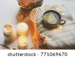 cozy winter morning at home.... | Shutterstock . vector #771069670