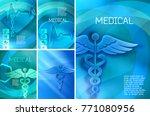 set blue medical background...   Shutterstock .eps vector #771080956