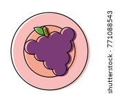 plate with grape vector... | Shutterstock .eps vector #771088543