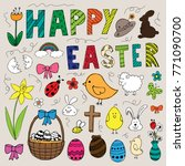 colorful hand drawn easter... | Shutterstock .eps vector #771090700