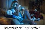 in the evening heartbroken girl ... | Shutterstock . vector #771099574