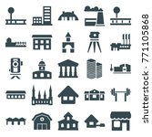 set of 25 building filled icons ... | Shutterstock .eps vector #771105868