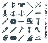 set of 25 sharp filled icons... | Shutterstock .eps vector #771105910