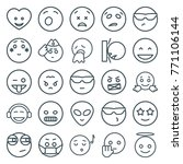 set of 25 emoji outline icons... | Shutterstock .eps vector #771106144