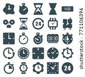 set of 25 clock filled icons... | Shutterstock .eps vector #771106396