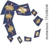 poker card scattered banner.... | Shutterstock .eps vector #771108148