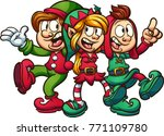 cartoon singing christmas elves.... | Shutterstock .eps vector #771109780