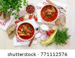 two bowls of ukrainian borscht...   Shutterstock . vector #771112576
