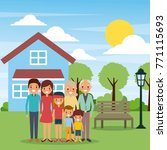 family standing in front house... | Shutterstock .eps vector #771115693