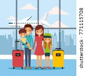 family in airport waiting room... | Shutterstock .eps vector #771115708