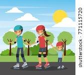 family practicing roller skate... | Shutterstock .eps vector #771115720