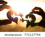 silhouette connect heart two... | Shutterstock . vector #771117754