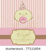 vintage baby girl arrival... | Shutterstock .eps vector #77111854
