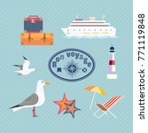 ocean cruise travel icon set.... | Shutterstock .eps vector #771119848