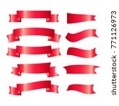 set of red ribbons isolated on... | Shutterstock .eps vector #771126973