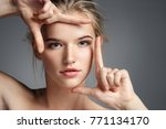 close up face of pretty girl.... | Shutterstock . vector #771134170