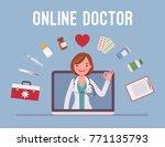 online doctor service. female... | Shutterstock .eps vector #771135793
