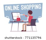 online shopping service. young... | Shutterstock .eps vector #771135796