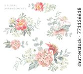 set of the floral arrangements. ... | Shutterstock .eps vector #771136618
