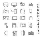 set of 20 simple lines media...