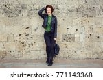 young stylish woman wearing... | Shutterstock . vector #771143368