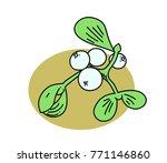 mistletoe cartoon hand drawn... | Shutterstock . vector #771146860