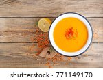 red lentil soup.top view.   Shutterstock . vector #771149170