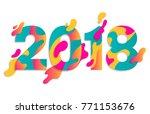 modern paper art 2018 design...   Shutterstock .eps vector #771153676