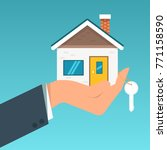 hand agent with home in palm... | Shutterstock .eps vector #771158590