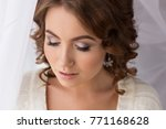 beautiful wedding make up with... | Shutterstock . vector #771168628