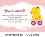 Cute Baby Girl Shower Invitation