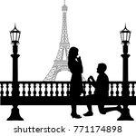 romantic proposal in paris in... | Shutterstock .eps vector #771174898