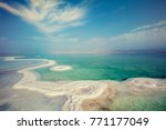 texture of dead sea. salty sea... | Shutterstock . vector #771177049