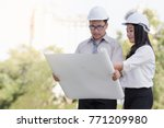 asian men and women engineers... | Shutterstock . vector #771209980