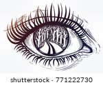 realistic eye with highly... | Shutterstock .eps vector #771222730