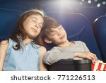 shot of two young kids sleeping ... | Shutterstock . vector #771226513