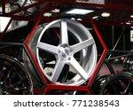 alloy wheel of car on the shelf ... | Shutterstock . vector #771238543
