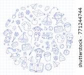 kindergarten nursery preschool... | Shutterstock .eps vector #771244744