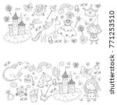 cute princess icons set with... | Shutterstock .eps vector #771253510