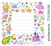 cute princess icons set with...   Shutterstock .eps vector #771254230