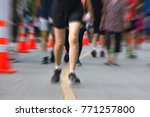 marathon runners running on