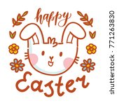illustration with easter bunny... | Shutterstock .eps vector #771263830